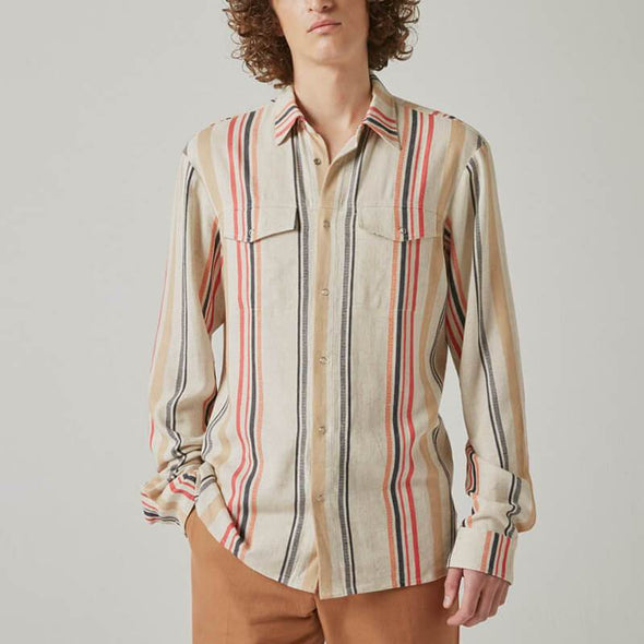 Beige linen long sleeve shirt with multicolored stripes.