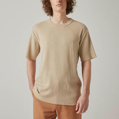 Beige ribbed cotton t-shirt.