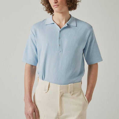 Baby blue cotton polo.