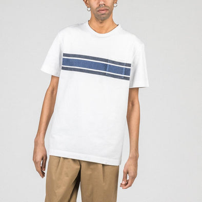 White relaxed fit cotton tee with navy blue stripes.