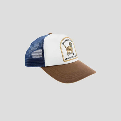 Classic trucker cap in brown, blue and white.