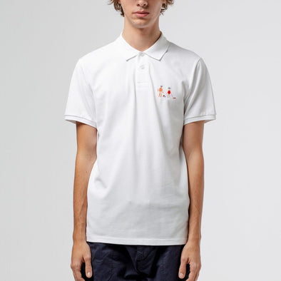 Relaxed fit white polo with chest embroidery.