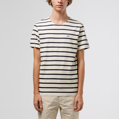 Relaxed fit t-shirt with striped jacquard and iconic duck patch.