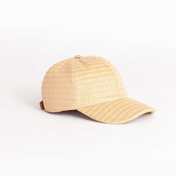 Natural round cap with leather adjuster.