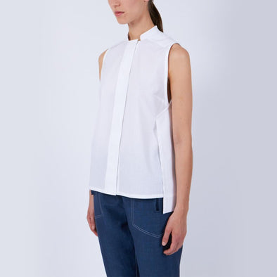 Minimalist white sleeveless shirt.