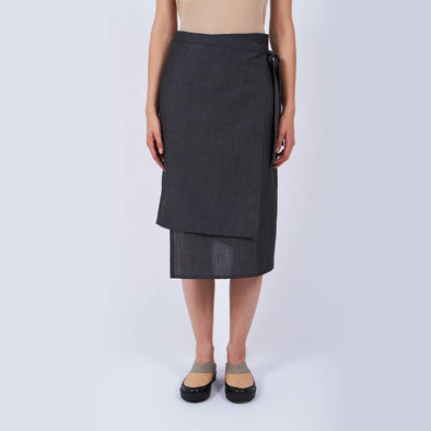Grey lightweight wrap skirt.