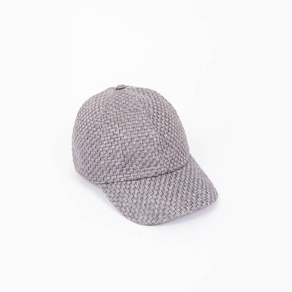 Grey straw rounded baseball cap.
