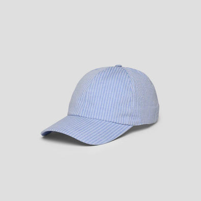 Light blue striped rounded baseball cap featuring an adjustable metal clip closure.