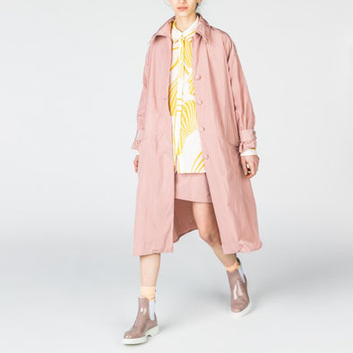 Dusty pink midi parka with pockets.