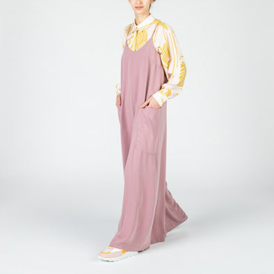 Dusty pink wide leg jumpsuit.