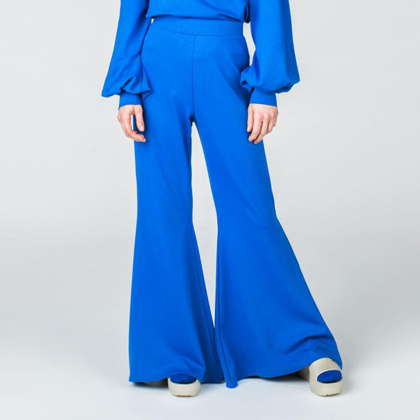 Klein blue flare pants.