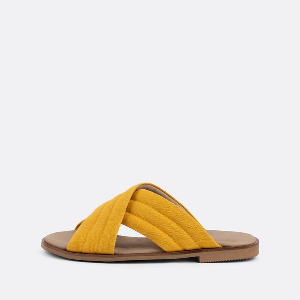 Comfortable cross-strap slides in yellow.