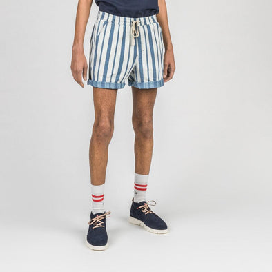 Blue and white striped shorts with elastic waistband, side mesh pockets and back patch pocket.