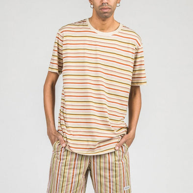 Regular fit tee with multicolored stripes.