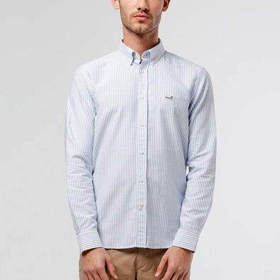 Classic button down striped shirt with iconic duck patch on the chest.