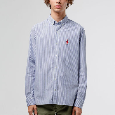 Classic button down striped shirt with an original Edmmond Studios patch on the chest.