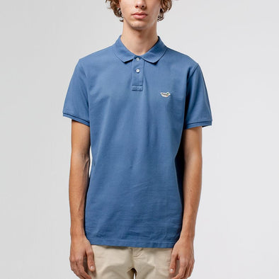 Blue classic polo with iconic duck patch on the chest.