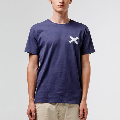 Navy blue t-shirt with white cross print on the chest.