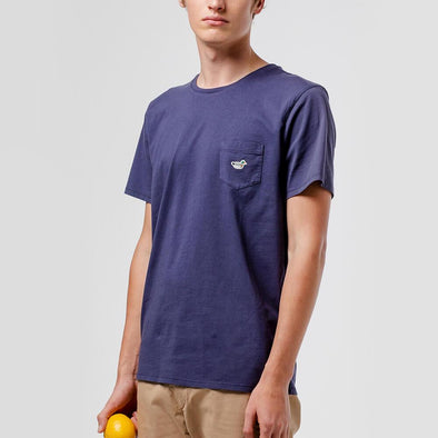 Navy blue cotton t-shirt with chest pocket and iconic duck patch.