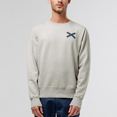 Grey crewneck sweatshirt with white cross print.