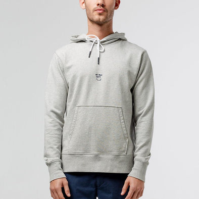 "Grey hoodie with ""No Bad Days"" original print."