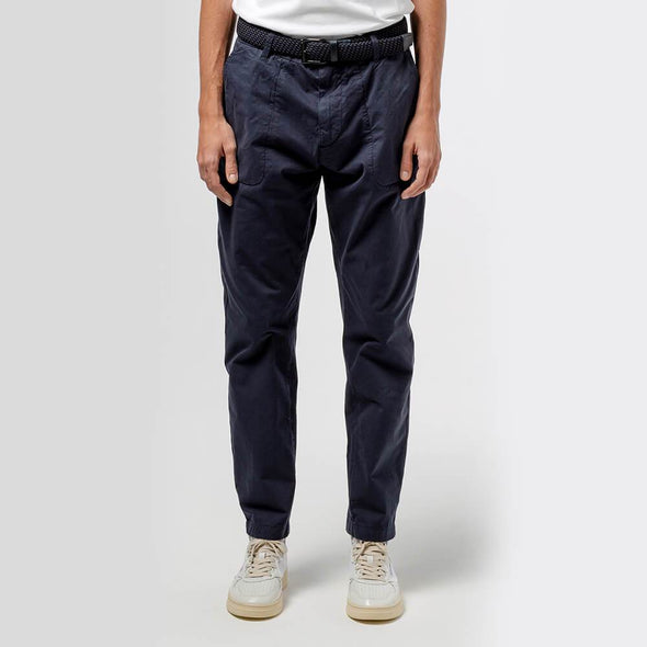 Navy blue light cotton pants with two big sized front stitched pockets and yoke seam back pocket.