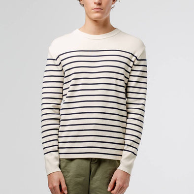 Off-white fishermen inspired sweater with navy blue stripes and no rib finishing.