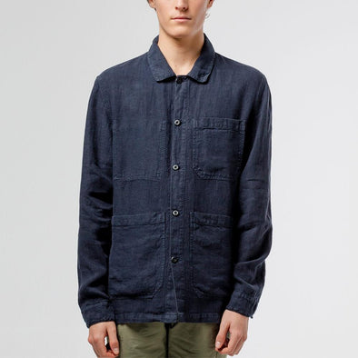 Navy blue classic lightweight jacket in linen.