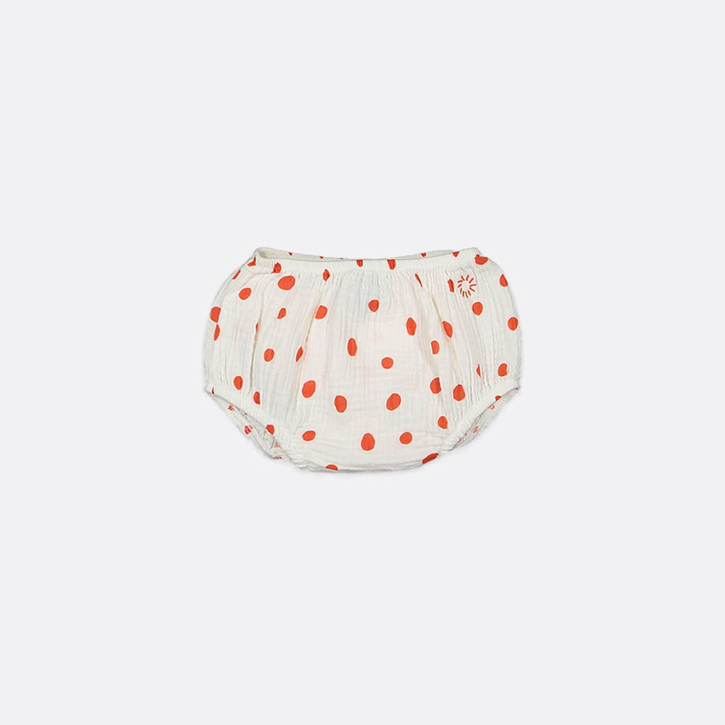 Textured bloomers with all-over confetti print and elastic waistband.