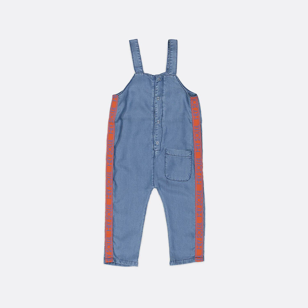 Indigo blue long tencel dungarees with front pocket.