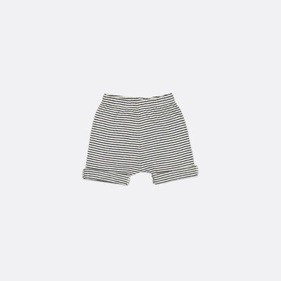 Striped jersey shorts with elastic waistband and orange back patch pocket.