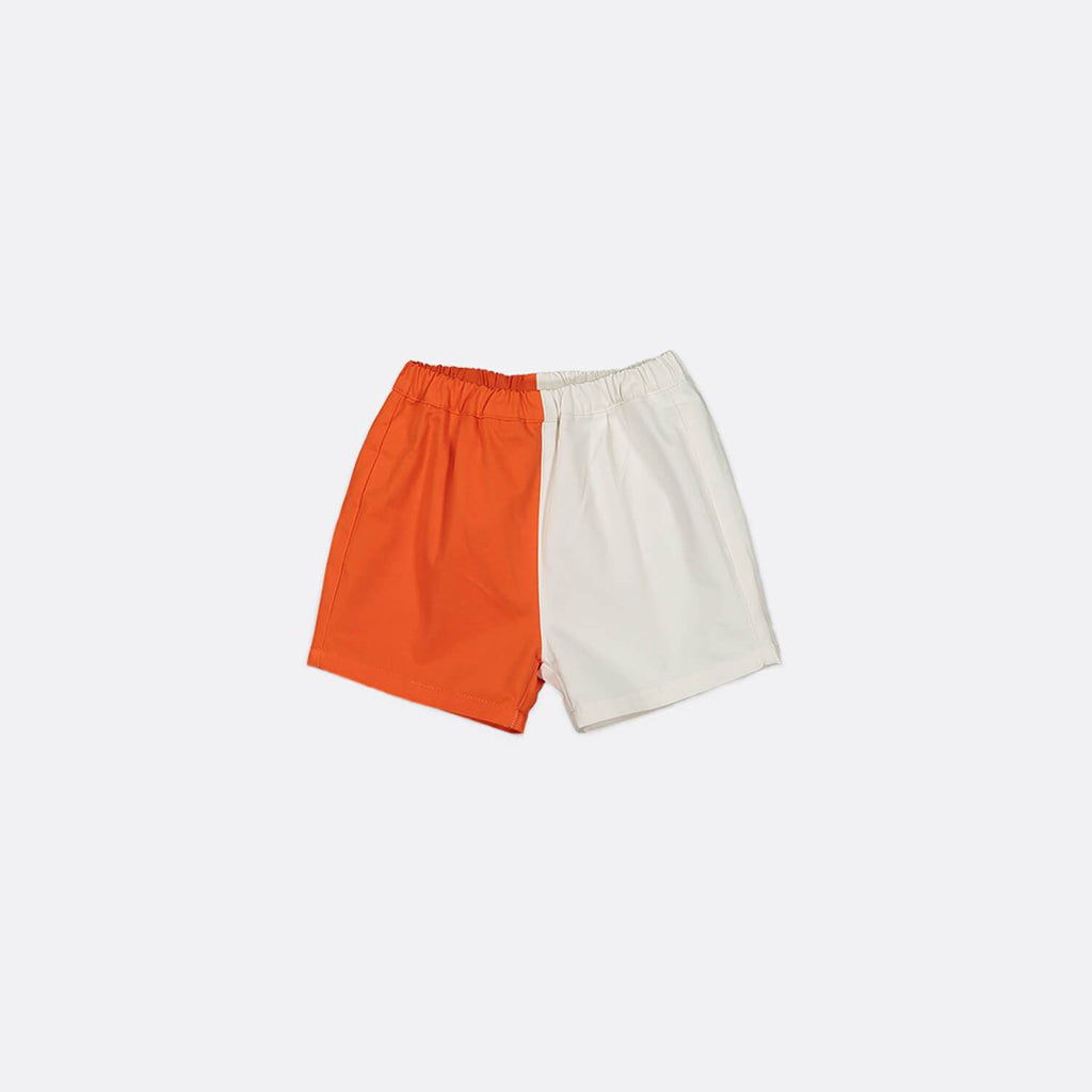 Orange and white twill shorts with elastic waistband and back patch pocket.