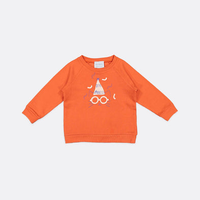 Orange round neck sweatshirt with front print and embroidery.