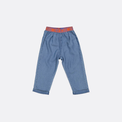 Indigo blue tencel trousers with Hey Soleil elastic tape waistband and turn-up.