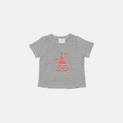Striped round neck t-shirt with embroidery and print on the front.