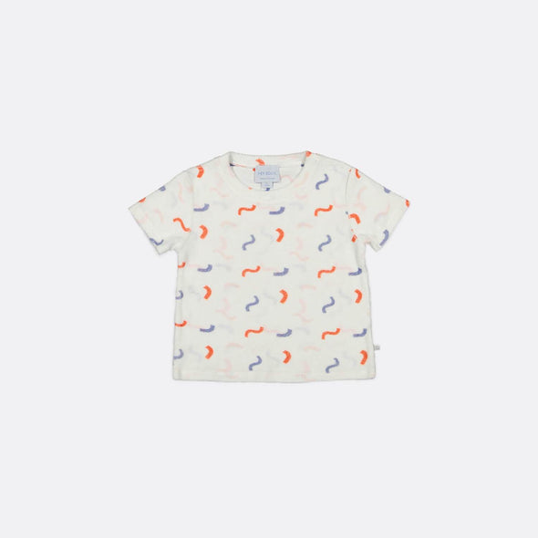 Terrycloth printed T-shirt with all-over print.