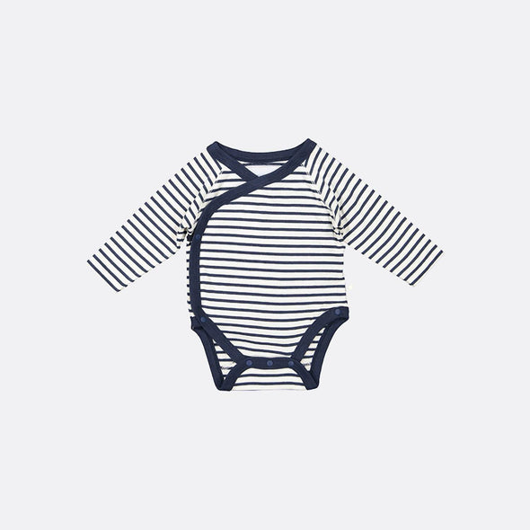 Navy blue striped wrap-over bodysuit.