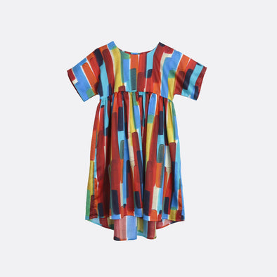 Multicolor wide short-sleeved dress.