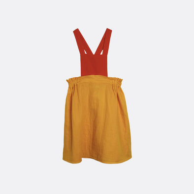 Mustard and rust pinafore dress with gathered skirt.