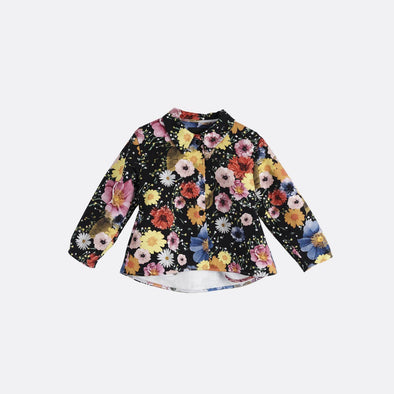 Flower print short coat with round hem.