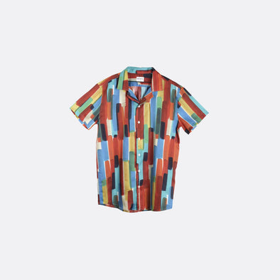 Multicolor button-down short-sleeved shirt.