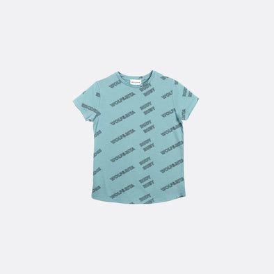 Light blue t-shirt with all-over print.