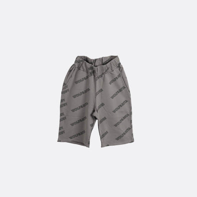 Grey shorts with elasticated waistband.