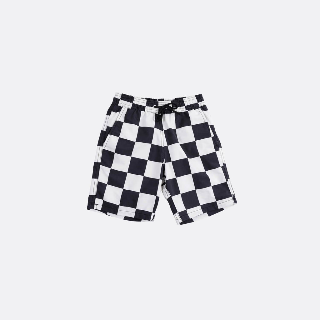 Black and white swim shorts with side and back pockets.