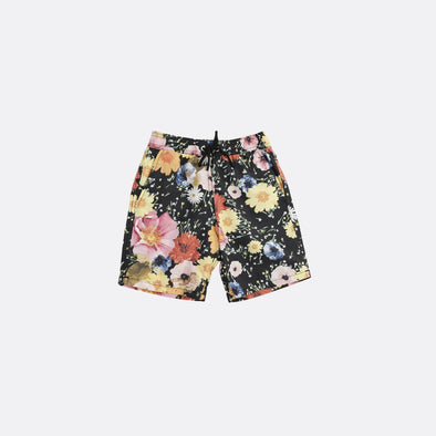 Flower print swim shorts with side and back pockets.