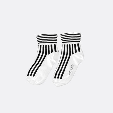 White socks with contrasting stripes.