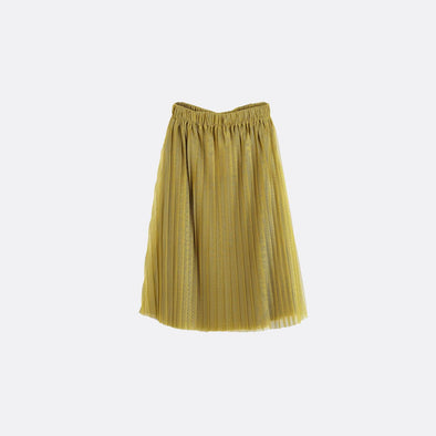 Yellow elastic waist layered long skirt.