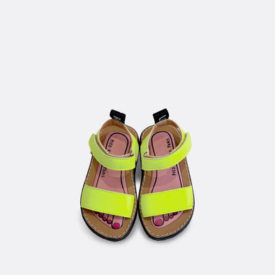 Minimalist japanese inspired flat sandals in lemon yellow leather.