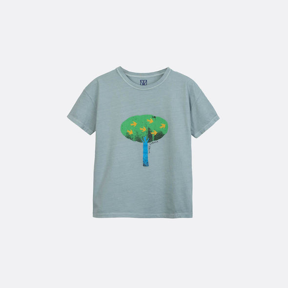 Stone grey round neck t-shirt with frontal tree print.