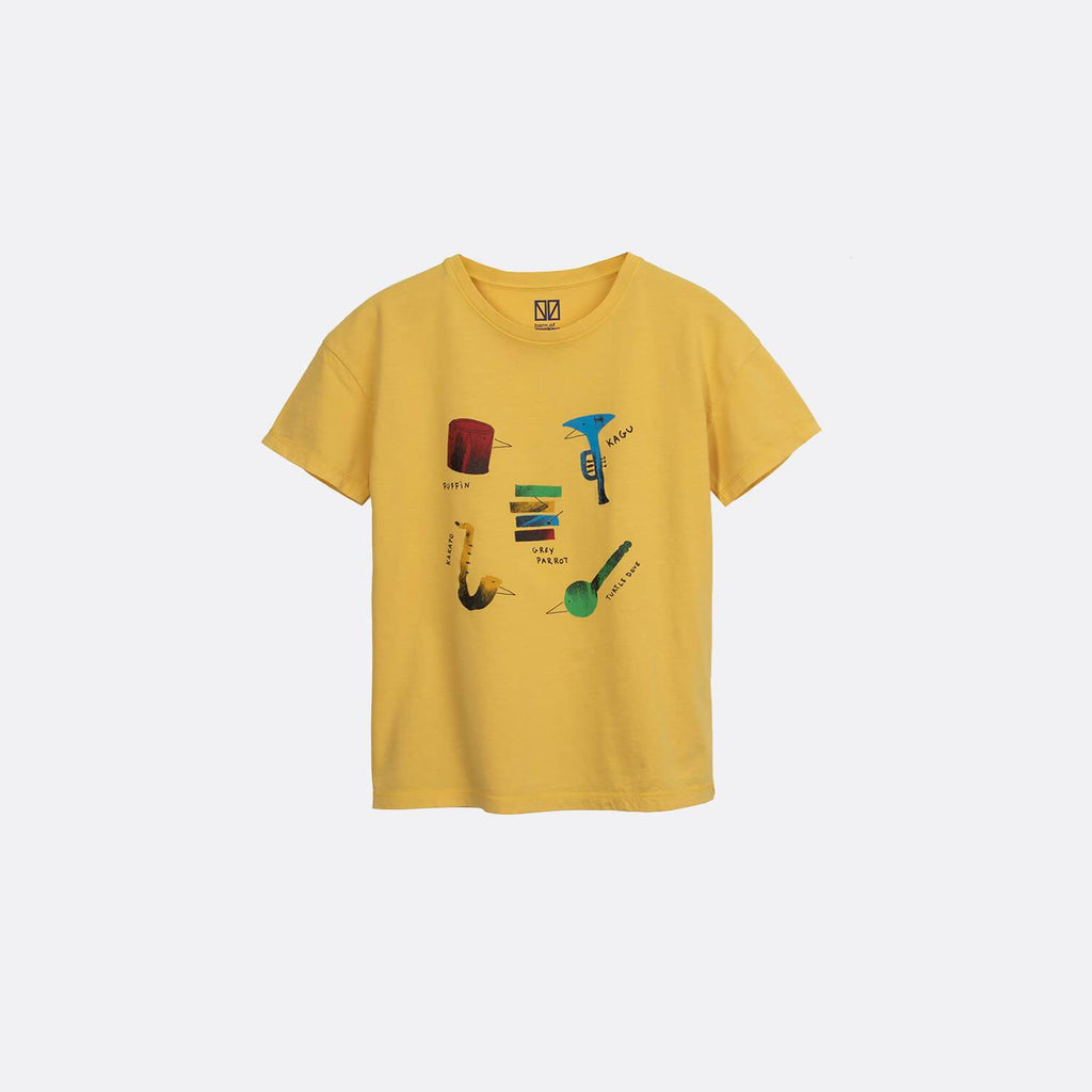 Yellow round neck t-shirt with frontal music band print.